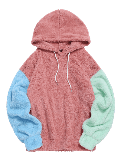 ZAFUL Color-blocking Splicing Fuzzy Pullover Hoodie