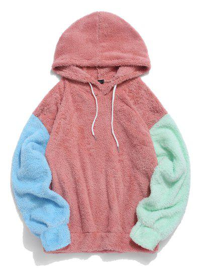 ZAFUL Color-blocking Splicing Fuzzy Pullover Hoodie - Light Coral L