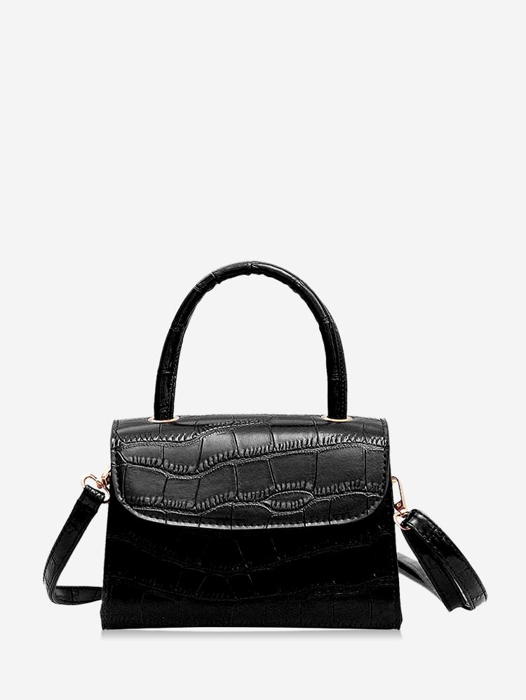 Leather Square Simple Solid Crossbody Bag, Black