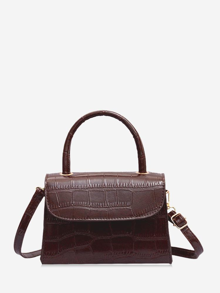 Leather Square Simple Solid Crossbody Bag, Deep brown