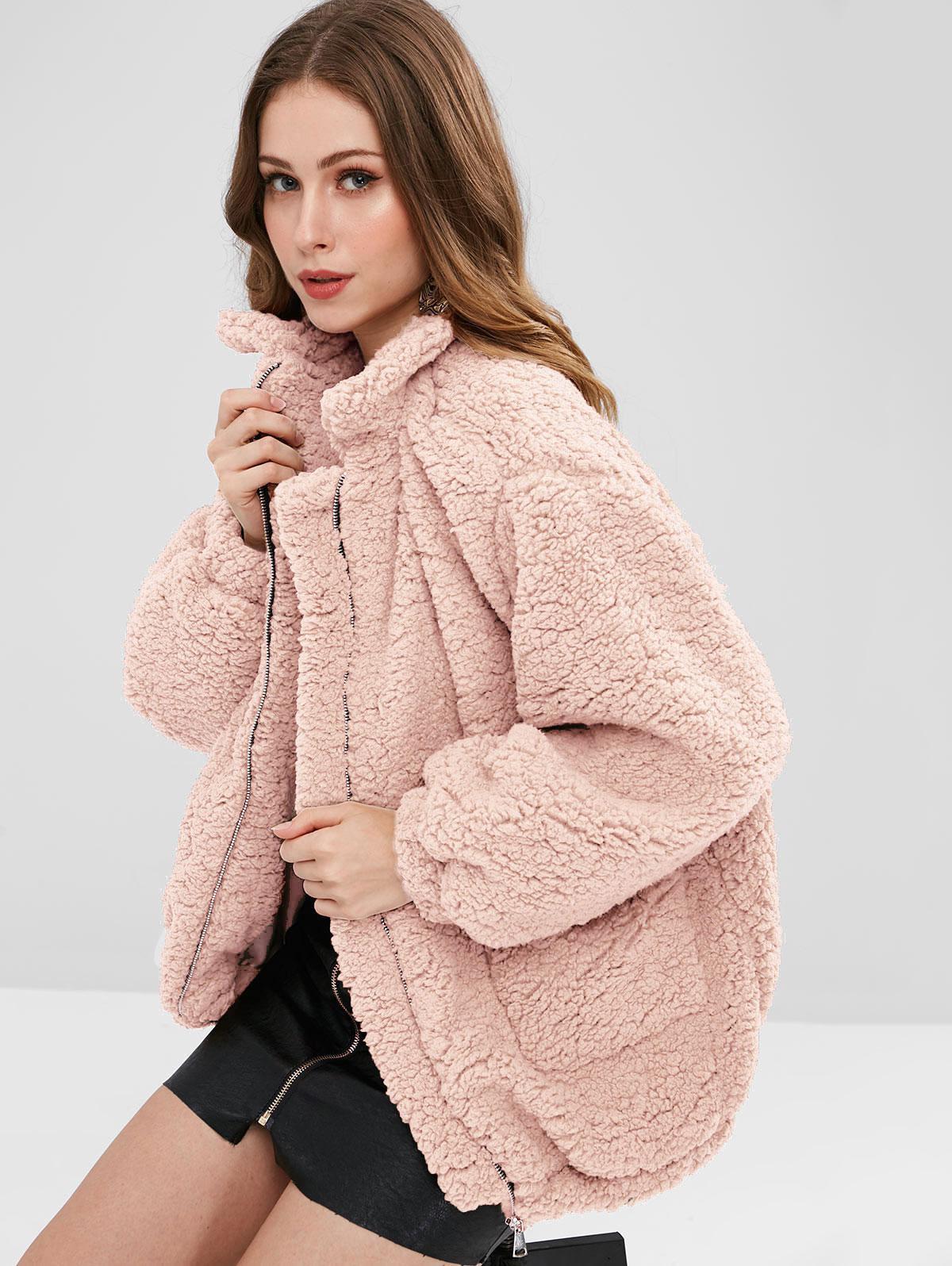 Slip Pockets Faux Fur Teddy Coat thumbnail