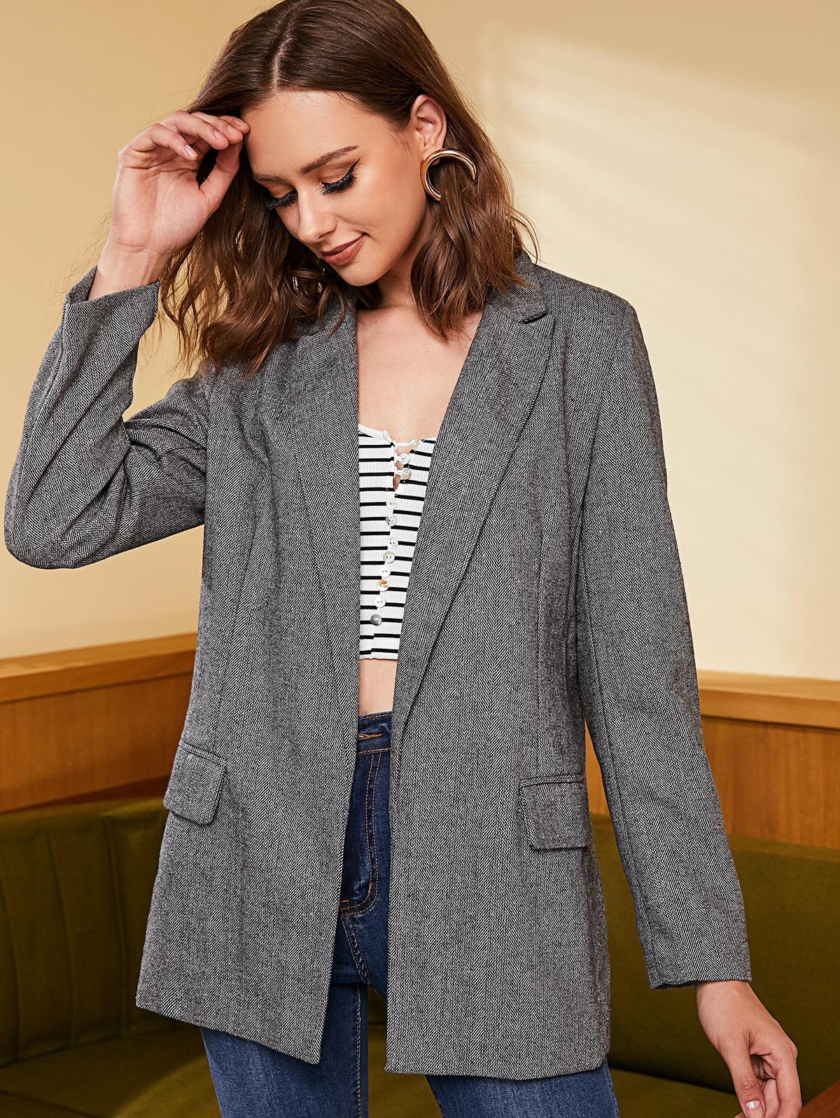 Tweed Ouvert Sur Le Devant Longline Blazer