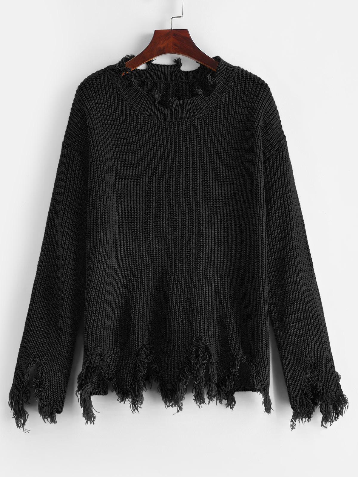 ZAFUL Sharkbite Trim Frayed Drop Shoulder Sweater