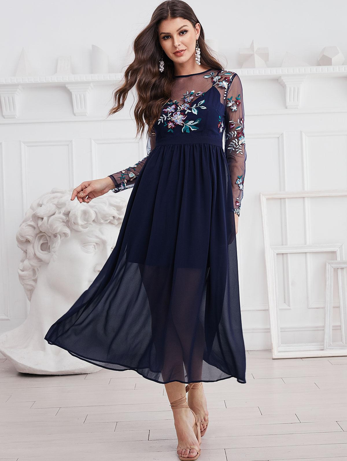 ZAFUL Long Sleeve Embroidered Sequined Sheer Mesh Panel Dress, Midnight blue