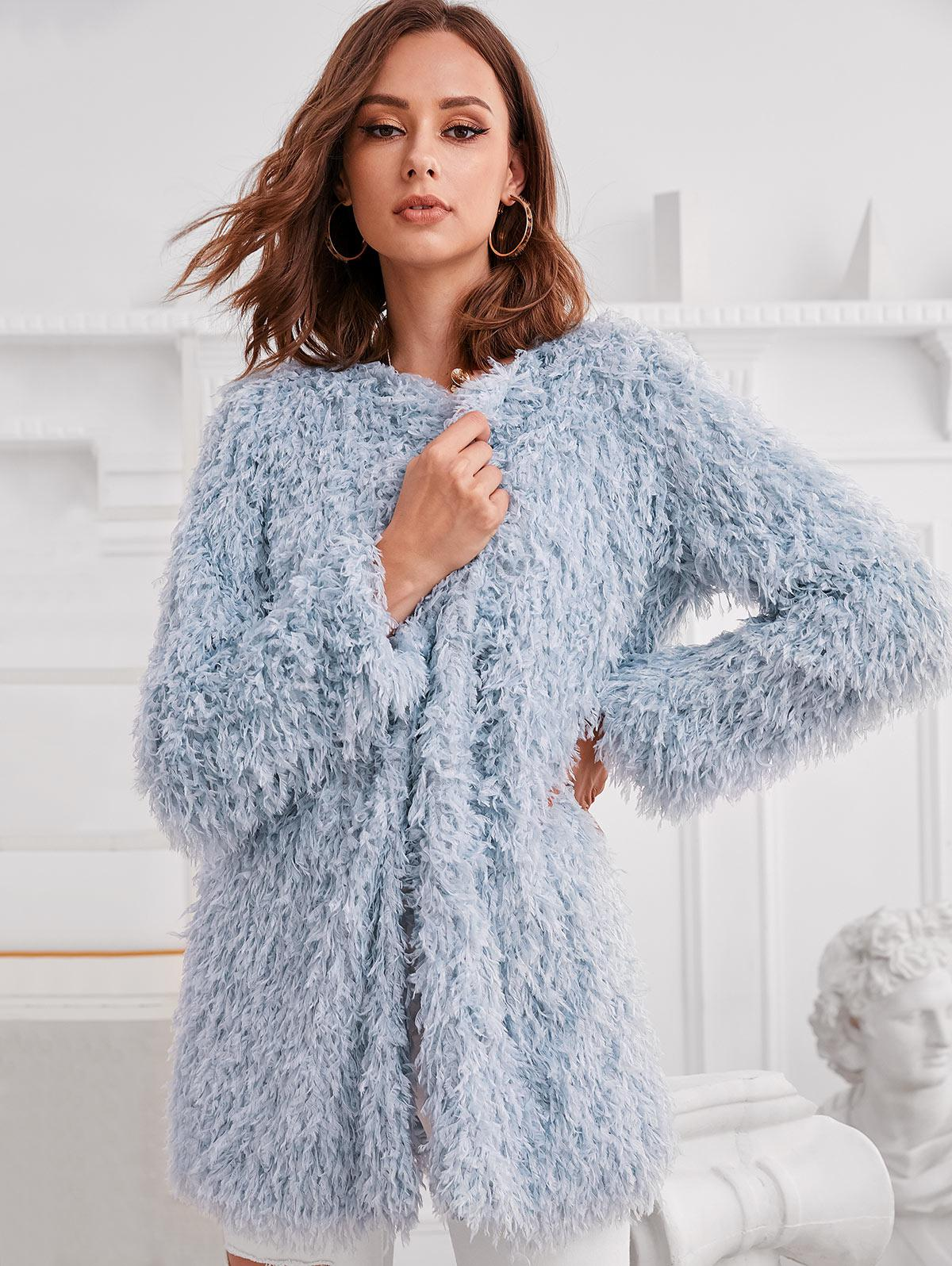 ZAFUL Longline Open Front Fuzzy Fringed Coat