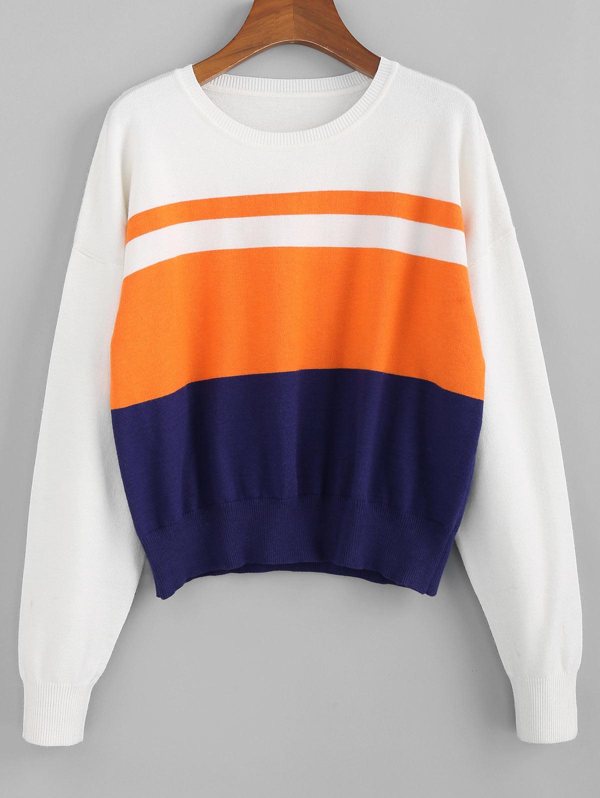 ZAFUL Drop Shoulder Colorblock Jumper Sweater