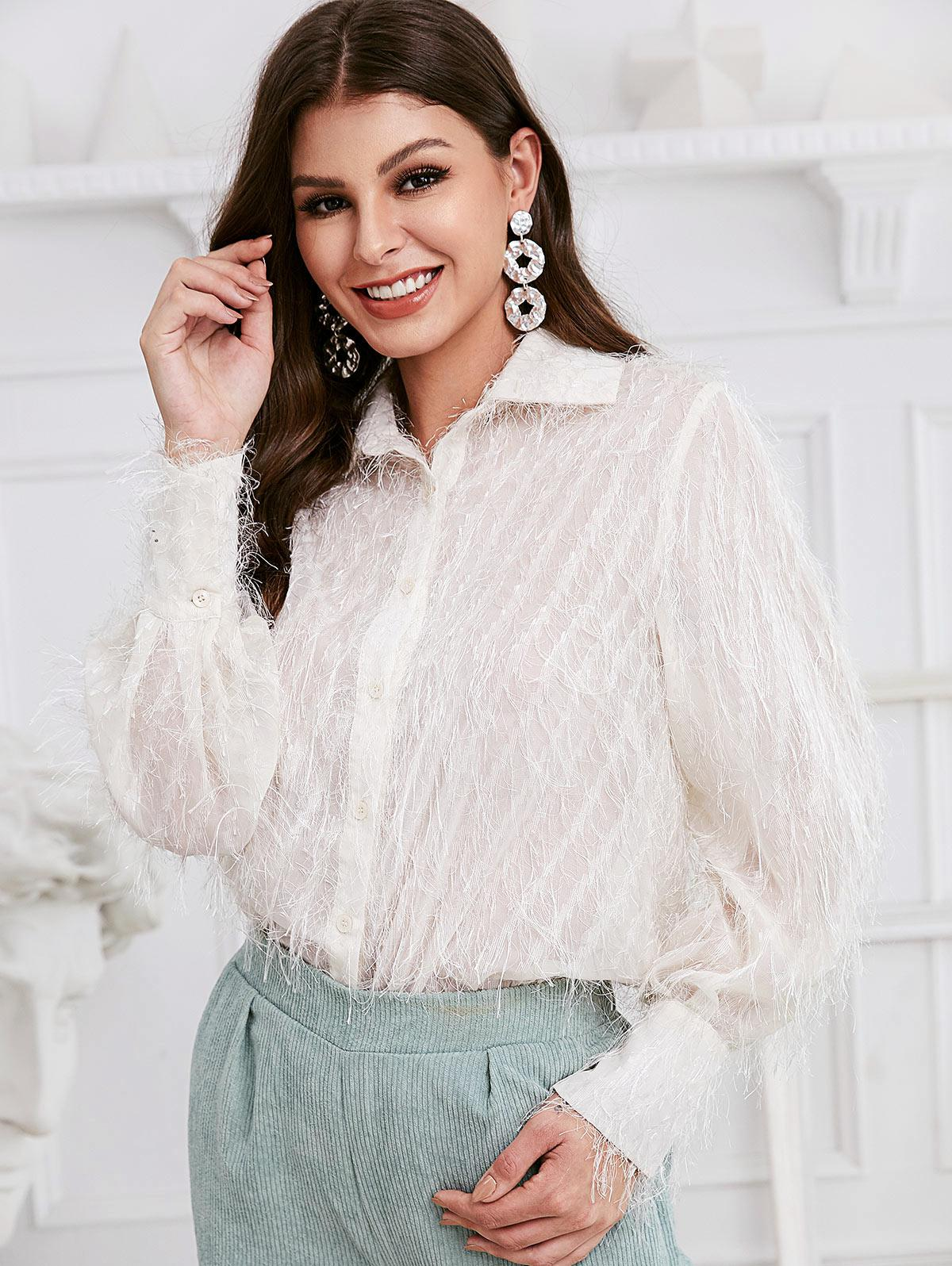 ZAFUL Button Down Solid Fuzzy Fringes Shirt