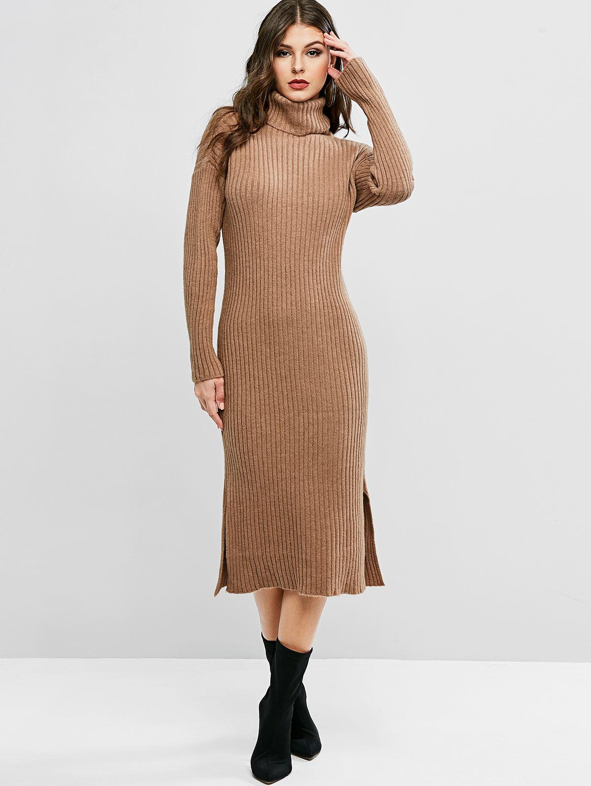 Turtleneck Drop Shoulder Slit Sweater Dress