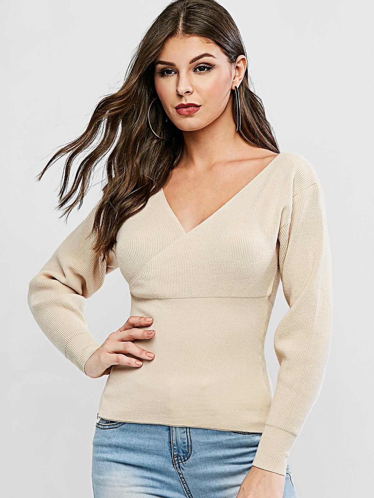 V Neck Solid Surplice Sweater фото