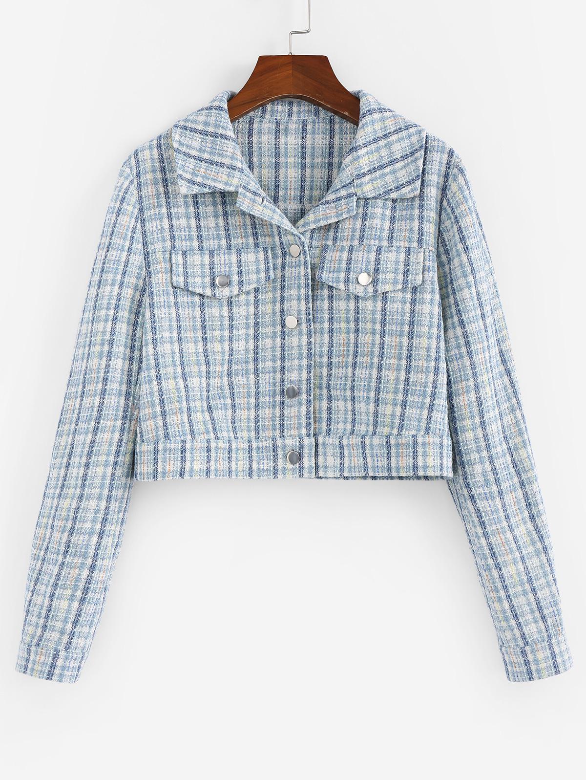ZAFUL Cropped Tweed Jacket