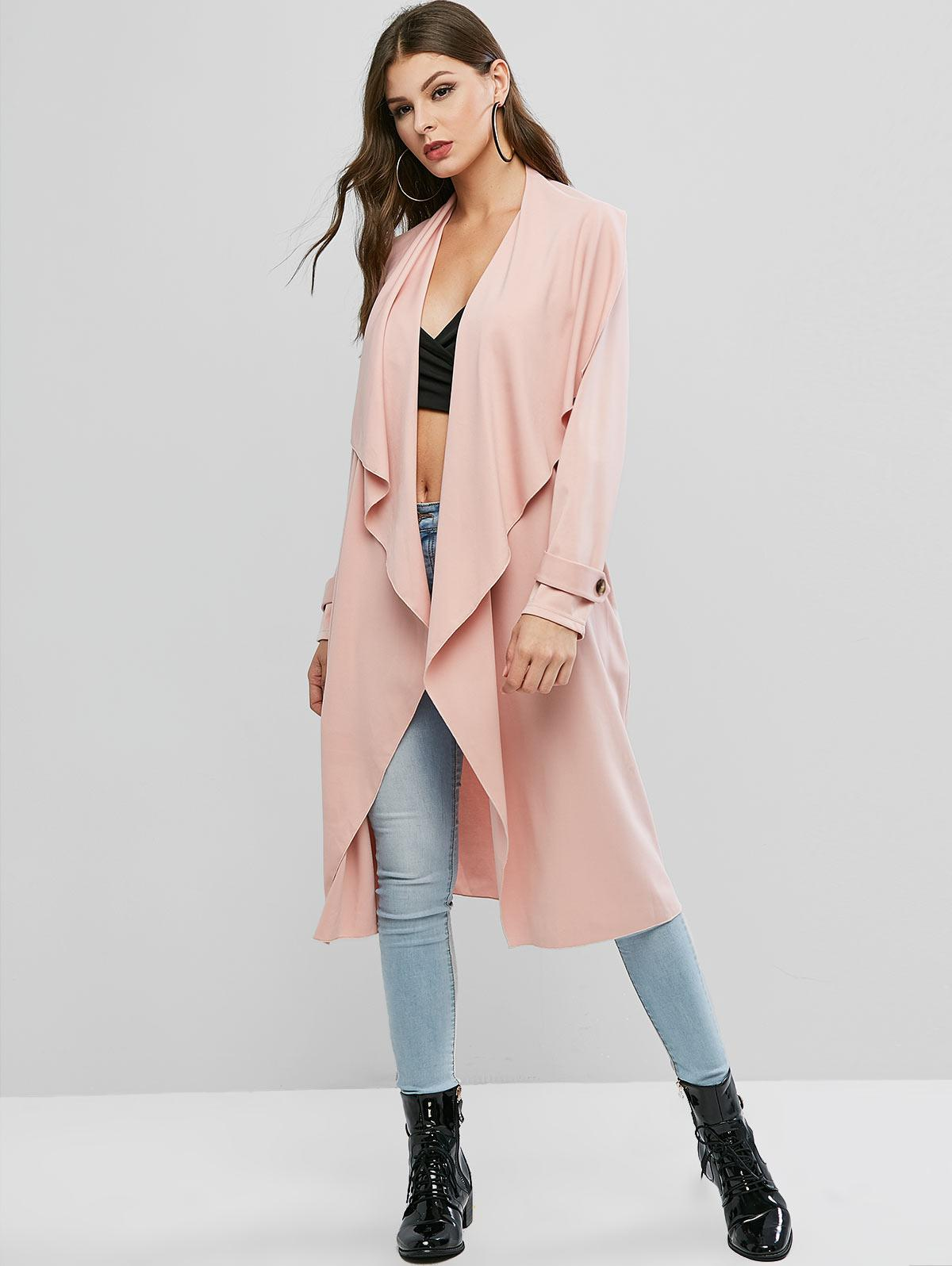 ZAFUL Solid Color Buttons Open Coat фото