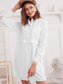 إسقاط الكتف جيب الصدر تونك اللباس القميص - أبيض L