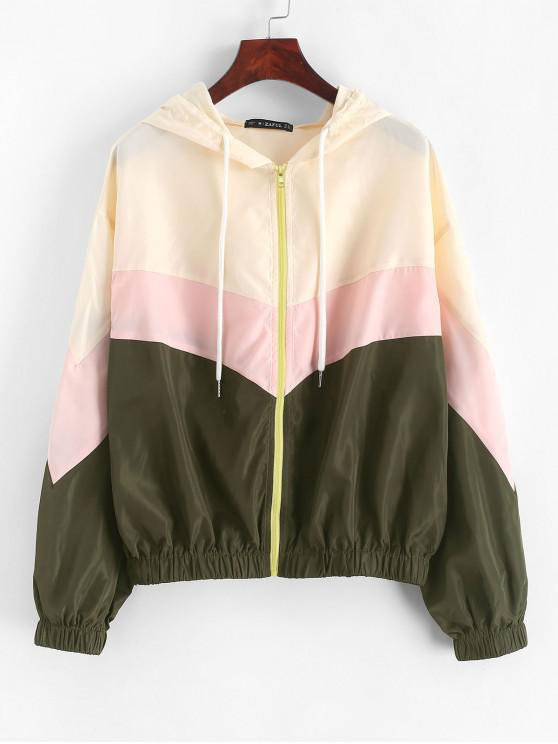 new ZAFUL Color-blocking Chevron Drop Shoulder Hooded Jacket - MULTI L