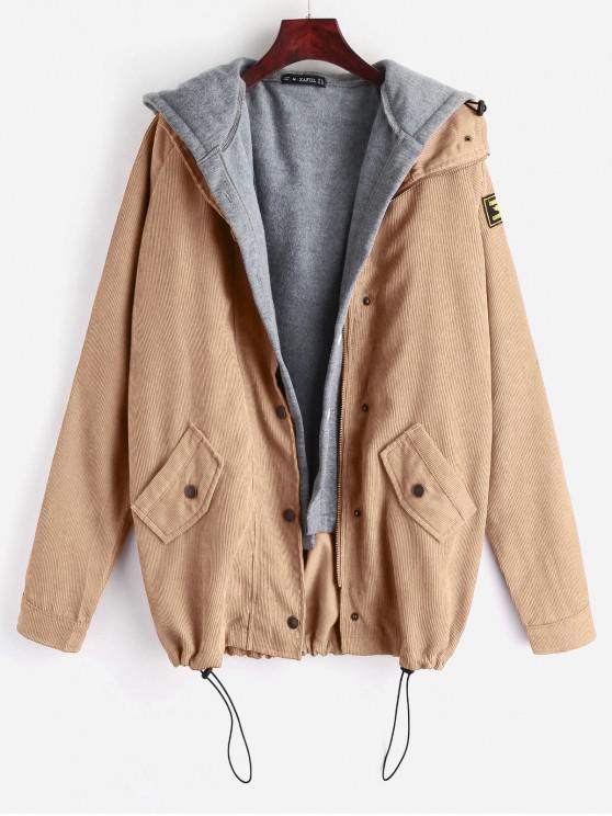 outfit ZAFUL Fleece Vest and Corduroy Jacket Twinset - LIGHT KHAKI M