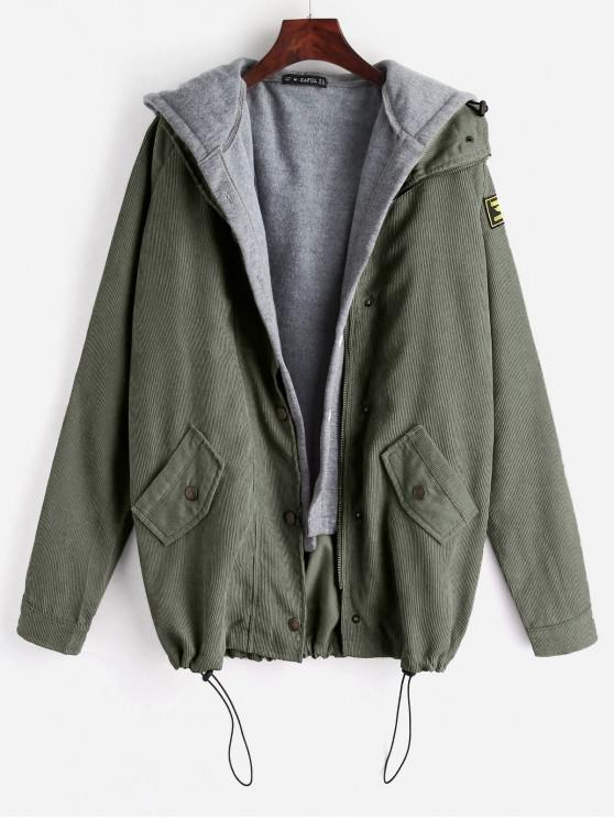 shop ZAFUL Fleece Vest and Corduroy Jacket Twinset - ARMY GREEN M