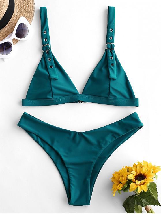 ladies ZAFUL Buckle High Leg Padded Bikini Swimsuit - PEACOCK BLUE L