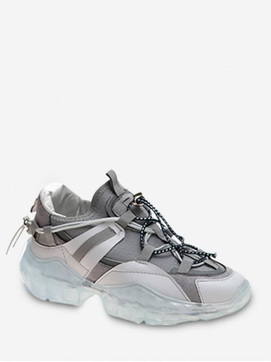 hot Toggle Drawstring Breathable Running Shoes - GRAY EU 39