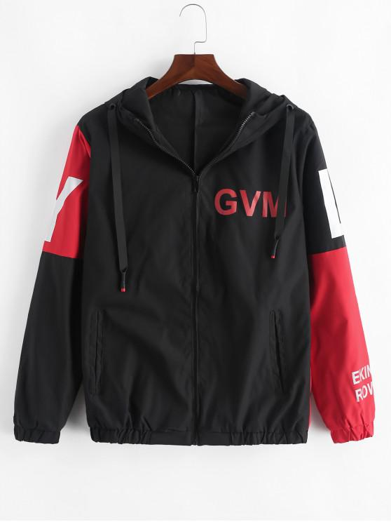 chic Letter Graphic Colorblock Splicing Hooded Jacket - RED M