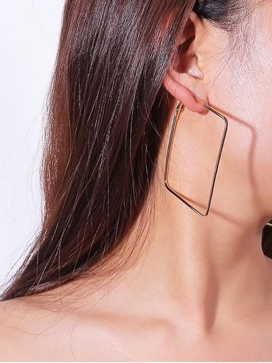 trendy Large Square Hoop Earrings - GOLD