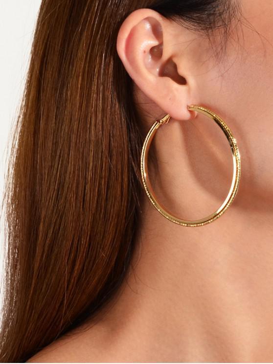 unique 3 Piece Large Geometric Hoop Earrings Set - GOLD