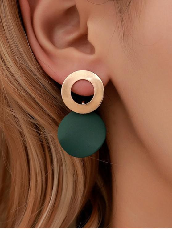 outfits Alloy Circle Stud Drop Earrings - DARK GREEN