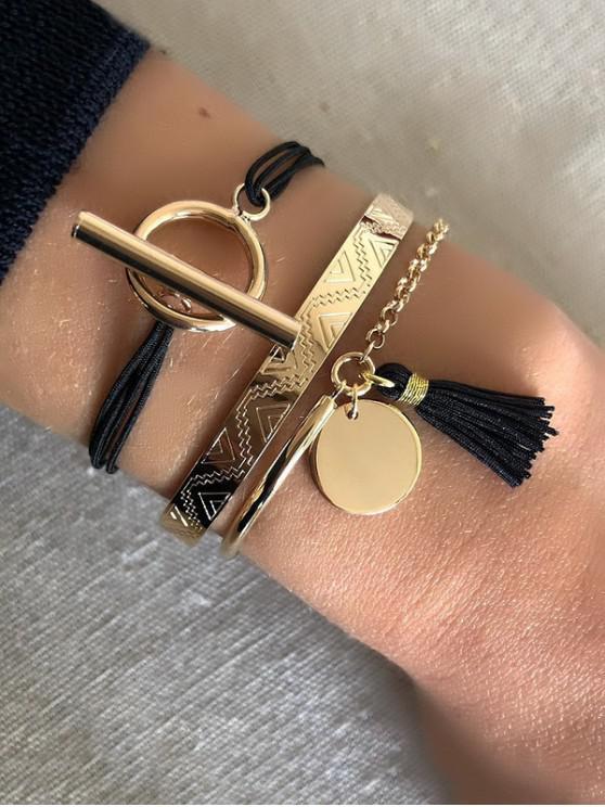 shop 3 Piece Tassel Disc Rope Chain Bracelets Set - MULTI-A