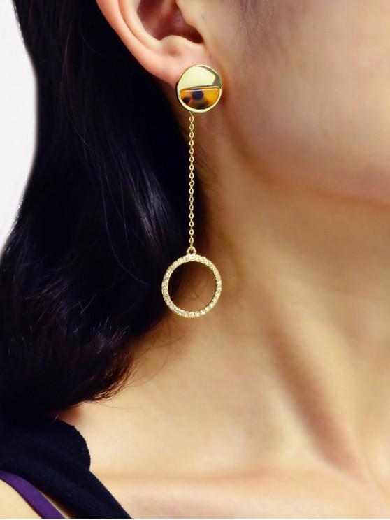 fashion Rhinestone Circle Long Chain Earrings - GOLD