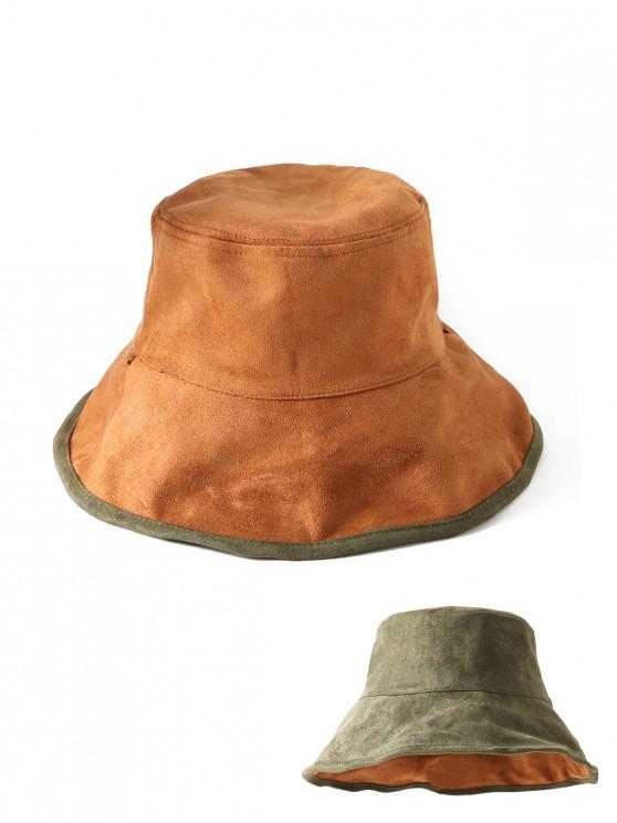 women's Suede Fabric Double-faced Solid Winter Bucket Hat - GREEN
