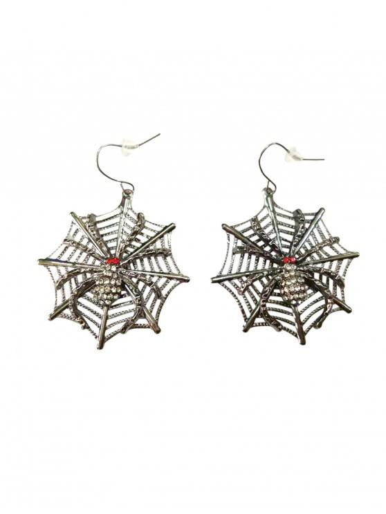 outfit Halloween Rhinestone Spider Web Earrings - CARBON GRAY