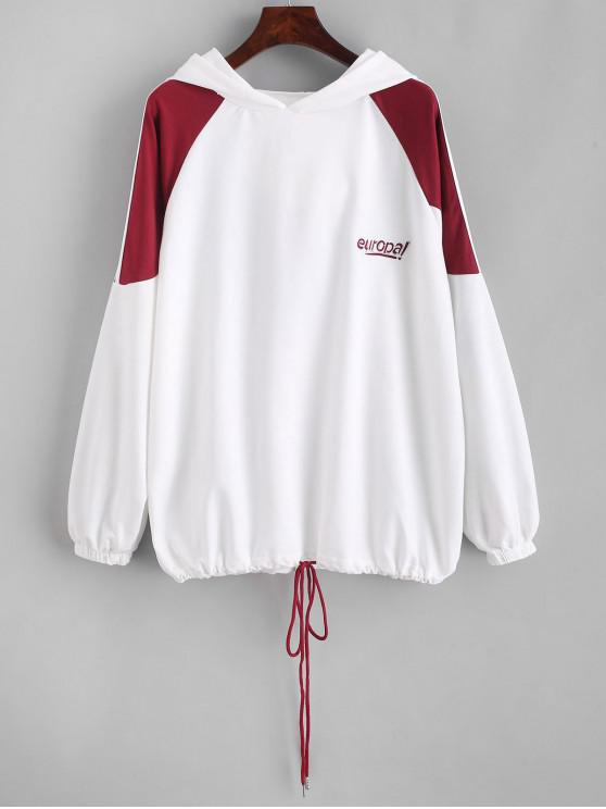 latest Drawstring Racing Stripes Europa Embroidered Hoodie - WHITE L