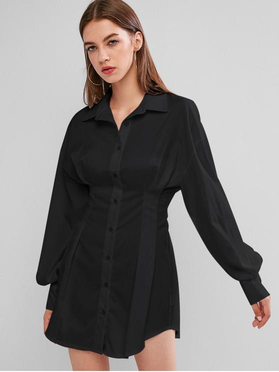 latest Long Sleeve Button Down Mini Shirt Dress - BLACK M