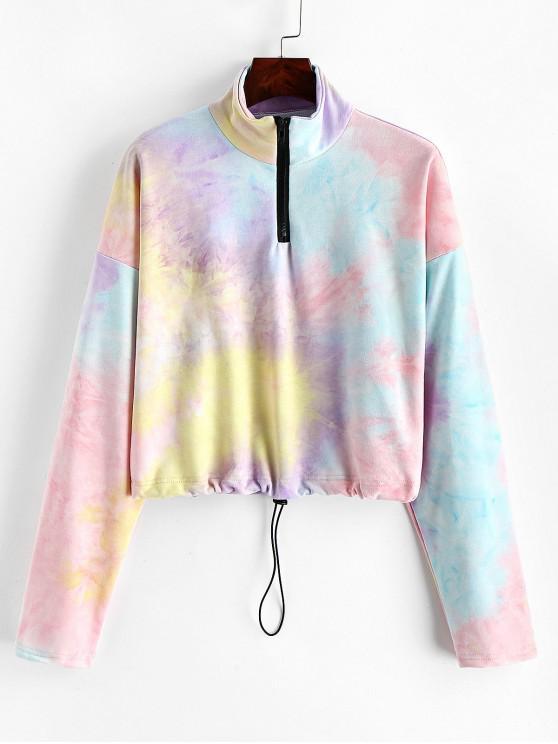 Sudadera con media cremallera y lazo con lazo Rainbow Dye ZAFUL - Multicolor-A M