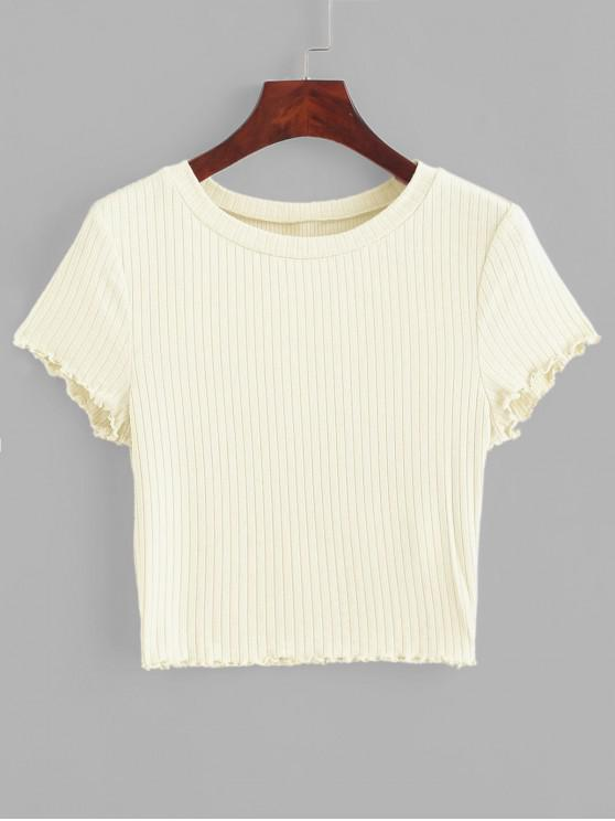 latest ZAFUL Lettuce Trim Ribbed Knit Cropped Tee - BEIGE S