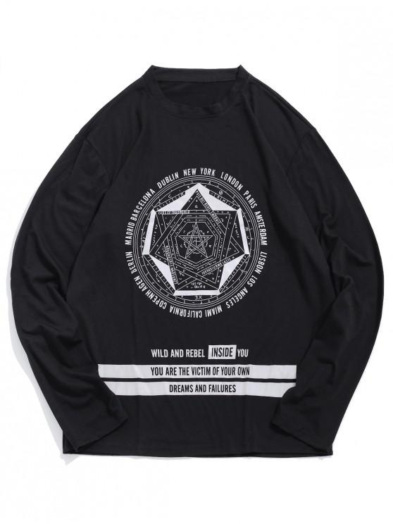 fashion Star Letter Pattern Full Sleeves T-shirt - BLACK L