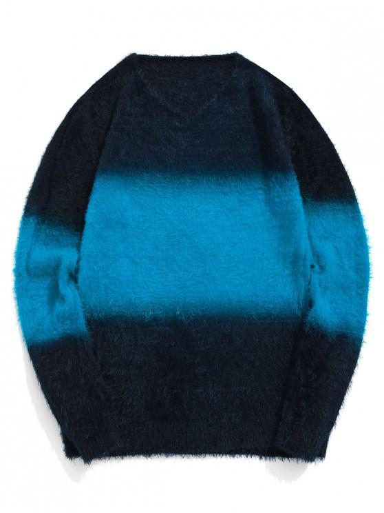 buy Color Spliced Round Neck Wool Sweater - CRYSTAL BLUE S