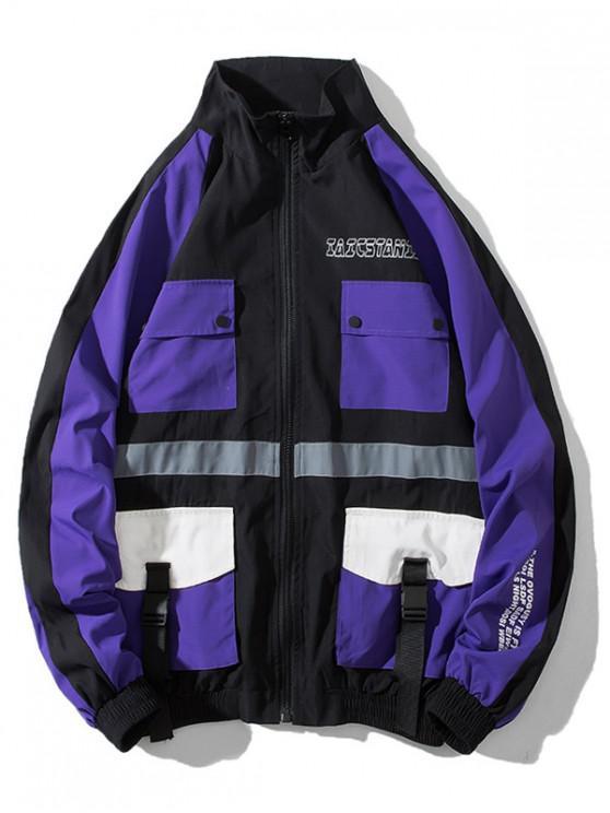 shops Letter Graphic Multi Pockets Windbreaker Jacket - PURPLE M