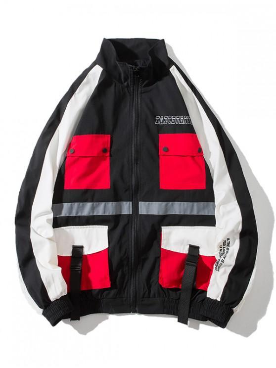 womens Letter Graphic Multi Pockets Windbreaker Jacket - BLACK M