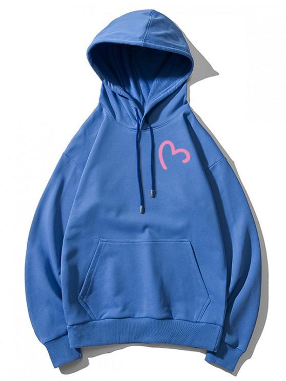women Incomplete Heart Print Kangaroo Pocket Hoodie - BLUEBERRY BLUE M