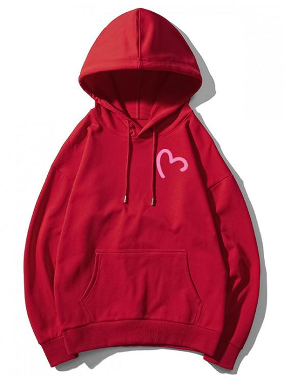 lady Incomplete Heart Print Kangaroo Pocket Hoodie - RED WINE M