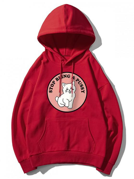 fancy Cat Pattern Print Hoodie - FIREBRICK XL
