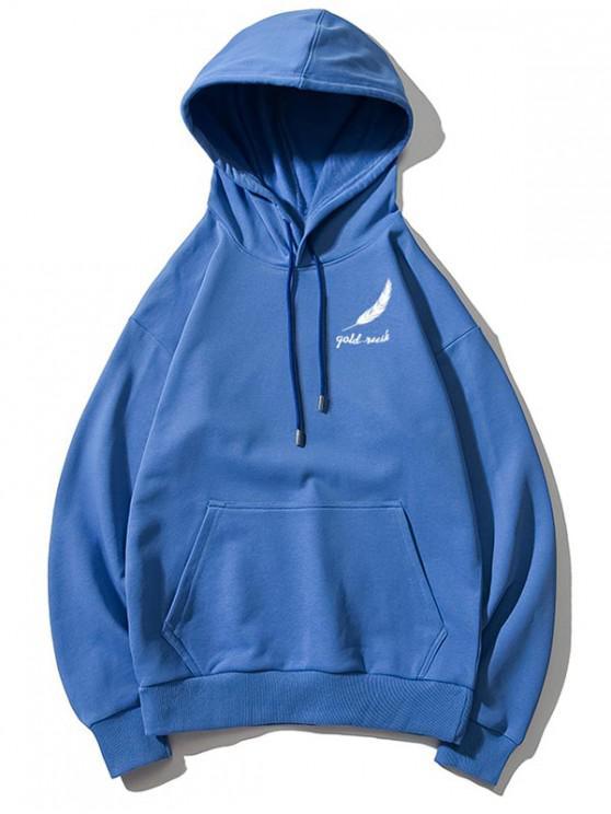 hot Tiny Feather Letter Print Kangaroo Pocket Drop Shoulder Hoodie - BLUEBERRY BLUE M