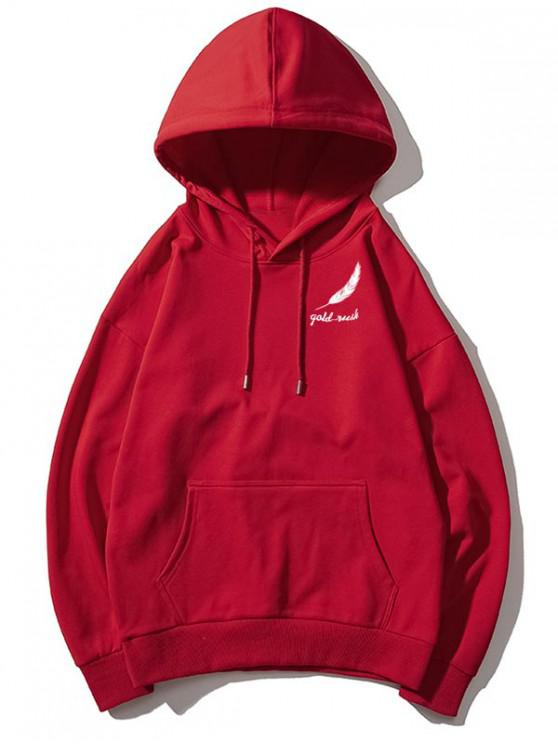 trendy Tiny Feather Letter Print Kangaroo Pocket Drop Shoulder Hoodie - RED WINE XL