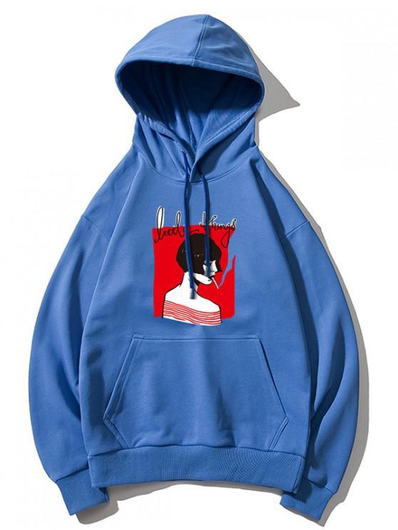 women's Smoking Girl Print Hoodie - DODGER BLUE XL