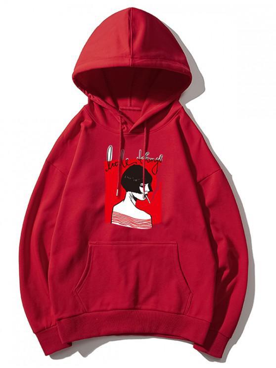 affordable Smoking Girl Print Hoodie - FIREBRICK XL