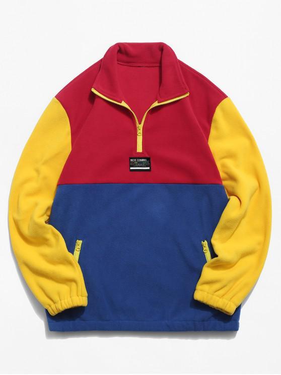 sale Colorblock Splicing Half Zipper Fuzzy Pullover Sweatshirt - RED M