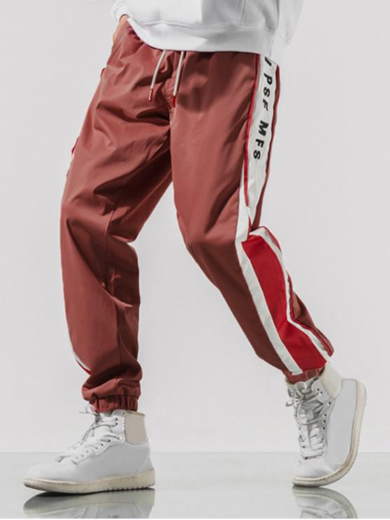 outfits Letter Embroidery Colorblock Spliced Drawstring Jogger Pants - WATERMELON PINK L