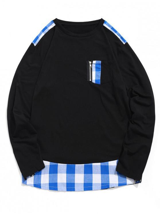 sale Plaid Print Zipper Decoration Casual T-shirt - BLUEBERRY BLUE L