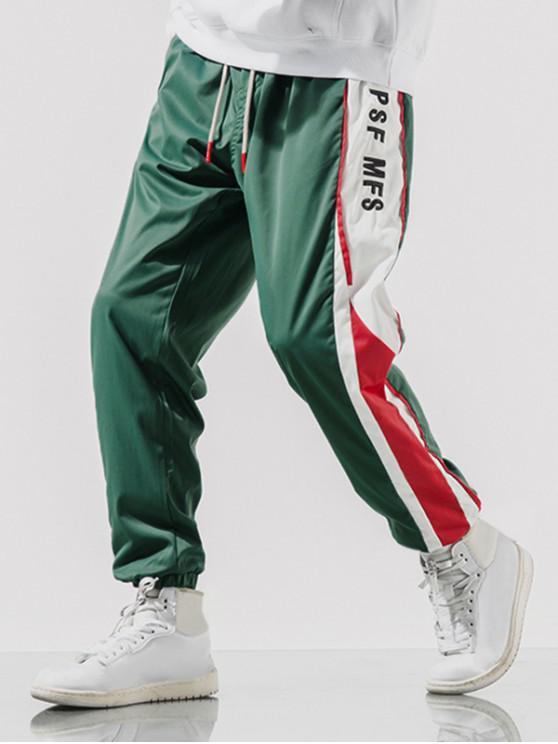 Pantalon de Jogging Lettre Brodée en Blocs de Couleurs Jointif à Cordon - Turquoise Foncée M
