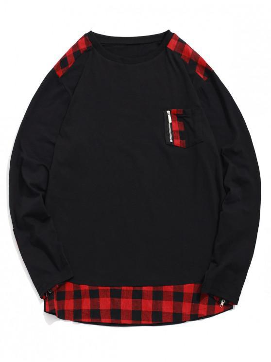 lady Plaid Print Zipper Decoration Casual T-shirt - RED XL