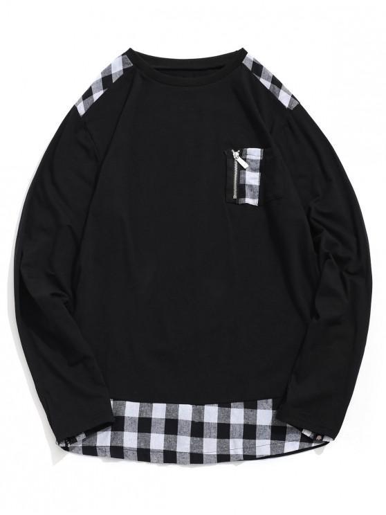 shops Plaid Print Zipper Decoration Casual T-shirt - BLACK 2XL